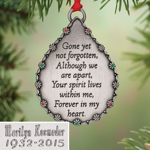 Personalized Teardrop Memorial Ornament - View 1