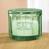 Depression Style Glassware - Green Depression Style Glass Salt Cellar