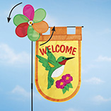 Hummingbird Welcome Flag with Spinner