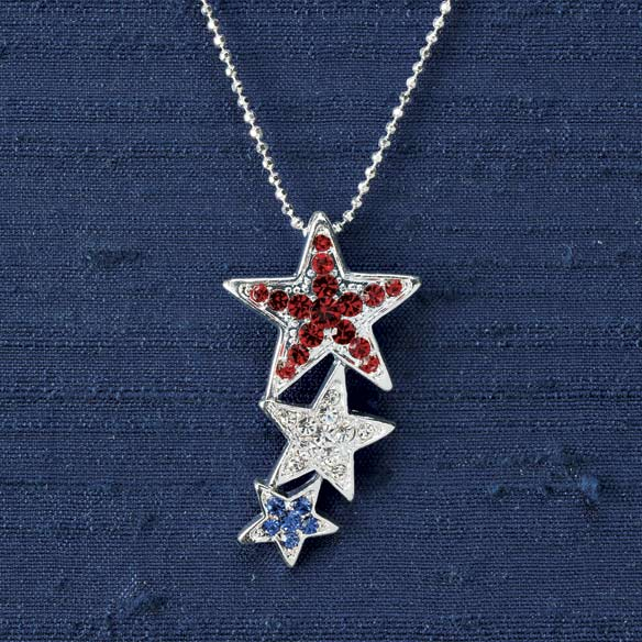 Red White & Blue Three Star Pendant Necklace