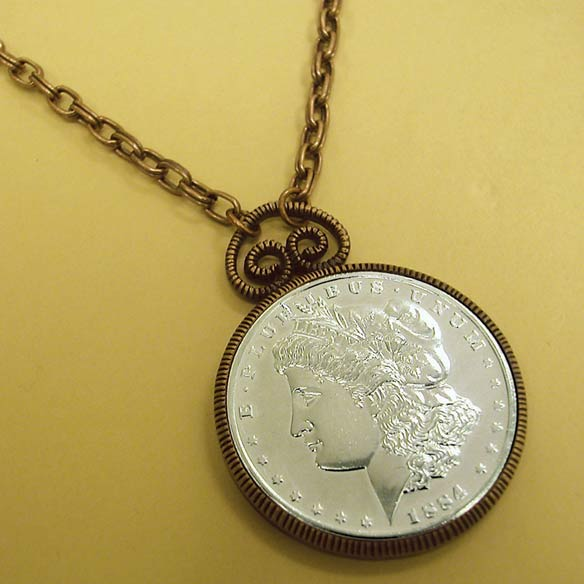 Morgan Dollar Replica in Copper Pendant