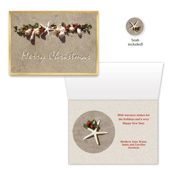 Seashell Garland Christmas Card Set of 20