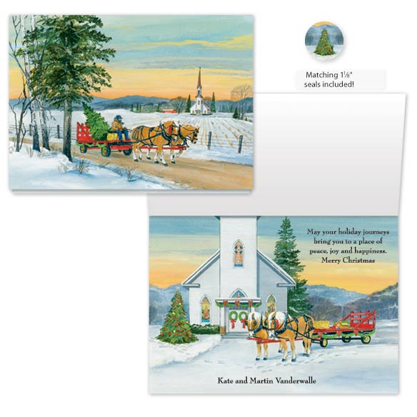 Wagon Ride Christmas Card Set of 20