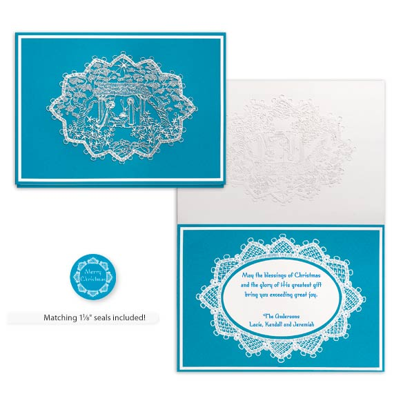 Lace Nativity Christmas Card Set of 20