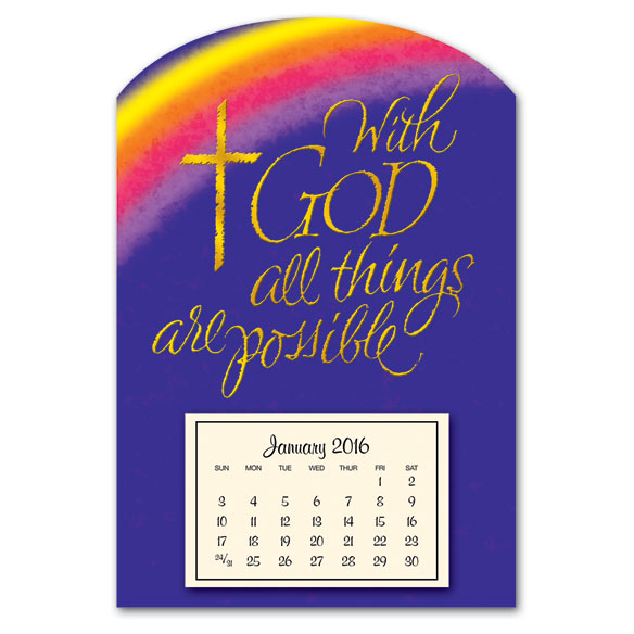 Mini Magnetic Calendar With God