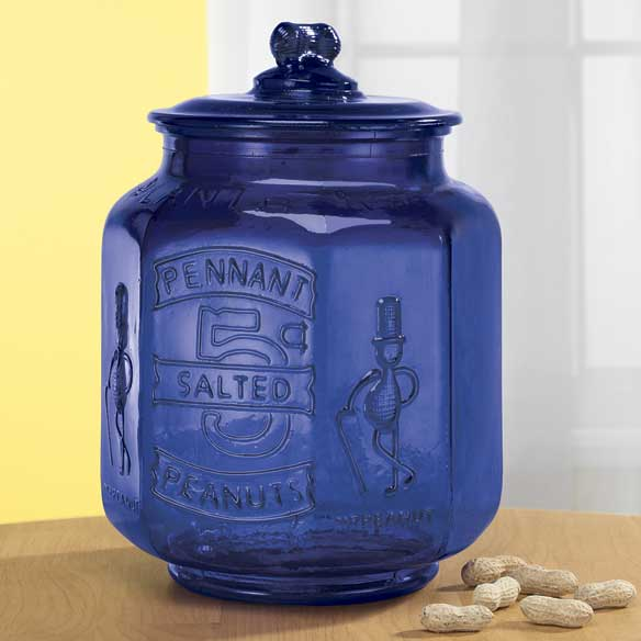 Cobalt Blue Glass Large Peanut Jar