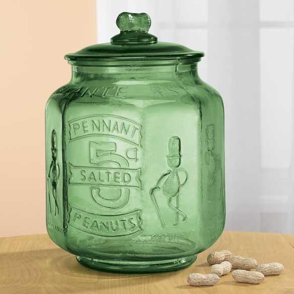 Green Depression Style Glass Large Peanut Jar