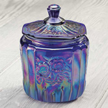 Carnival Blue Glass Biscuit Jar
