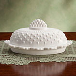 White Hobnail Butter Dish and Shakers