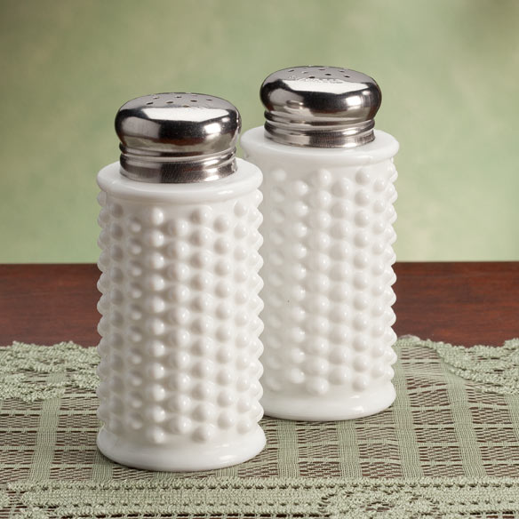 White Hobnail Depression Style Glass Salt & Pepper Shakers
