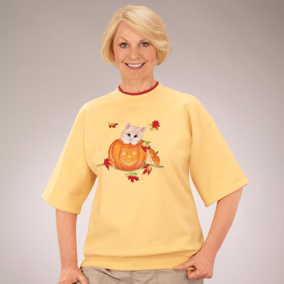 Kittens in Jack-O-Lantern short Sleeve Sweatshirt