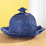 Cobalt Blue Glass Domed Butter Dish