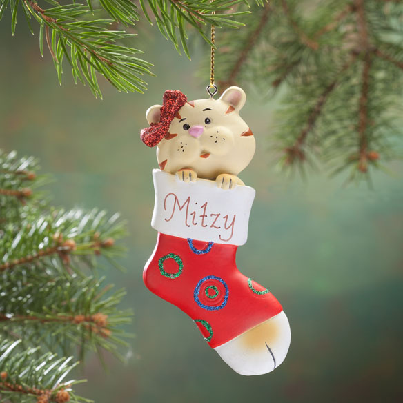Personalized Kitten In Stocking Ornament