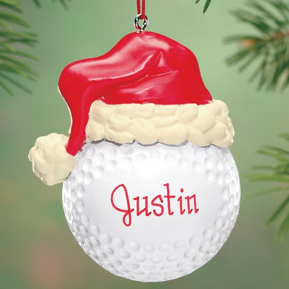 Personalized Santa Hat Golf Ball Ornament