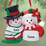 Ornaments - Personalized Snowmen Couple Christmas Ornament