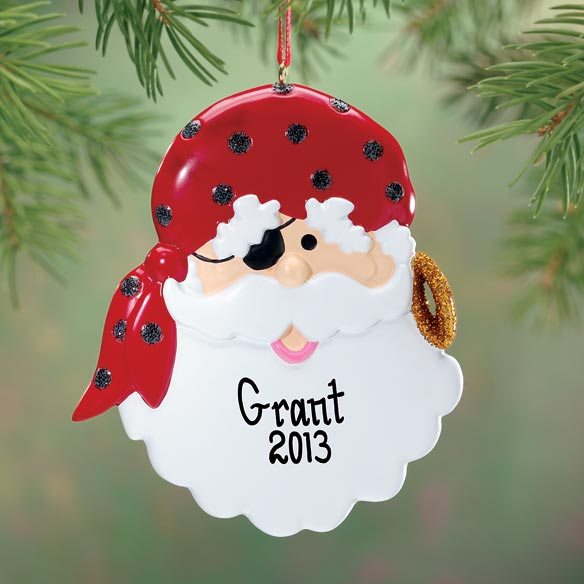 Personalized Pirate Santa Ornament