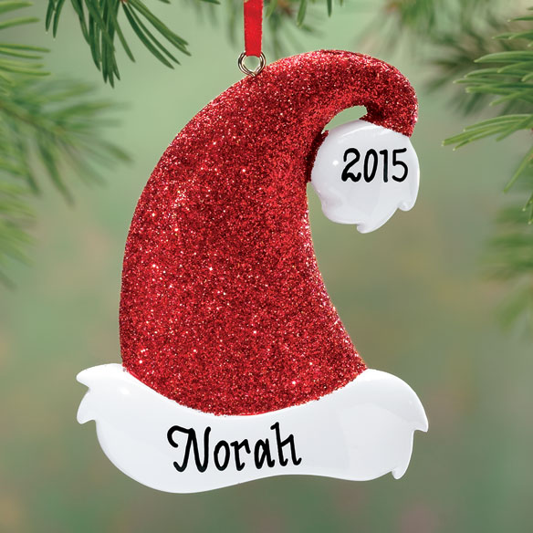 Personalized Santa Hat Glitter Ornament