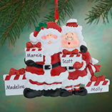 Personalized Santa & Mrs Claus 4 Presents Ornament