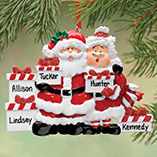 Personalized Santa & Mrs Claus 5 Presents Ornament