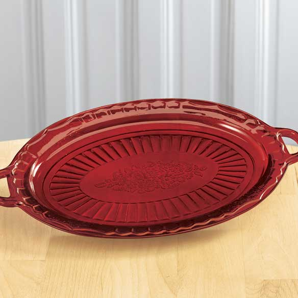 Red Depression Style Glass Serving Platter