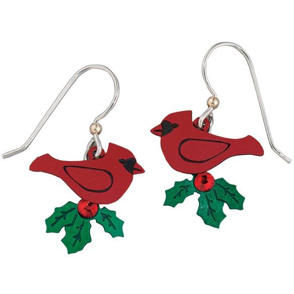 Sterling Silver Cardinal Earrings