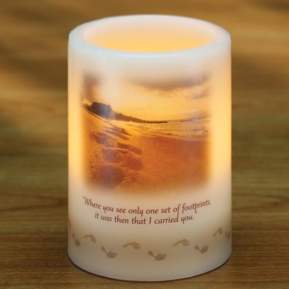 Footprints Flameless Candle