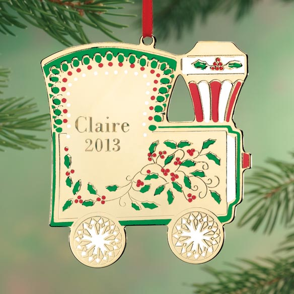 Personalized Christmas Train Brass Ornament