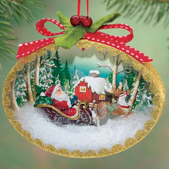 Nostalgic Christmas Scene Ornament