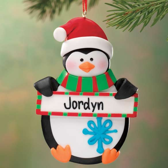 Personalized Penguin with Sign Ornament