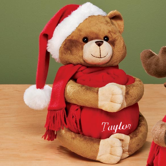 Personalized Stuffed Plush Bear w/Throw