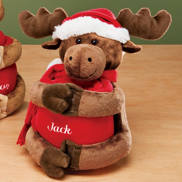 Personalized Stuffed Plush Reindeer w/Throw