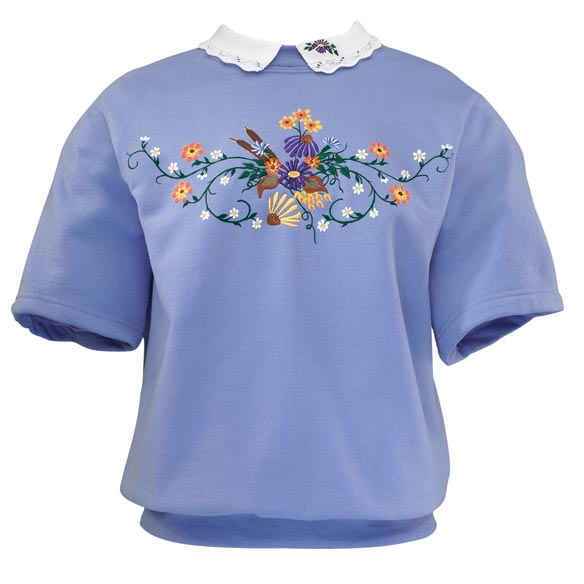 Fall Flowers Short-Sleeve Sweatshirt