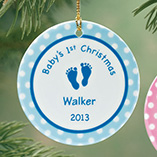 Milestones - Personalized Baby Boy's First Christmas Porcelain Ornament
