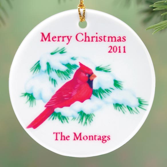 Personalized Winter Cardinal Porcelain Ornament