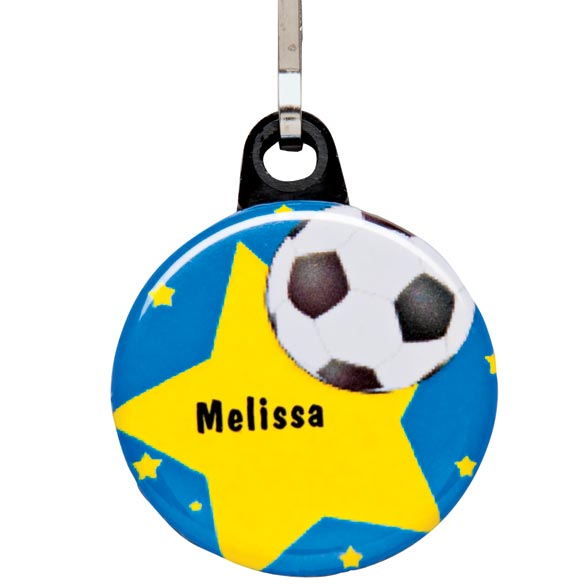Personalized Soccer Zipper Pull