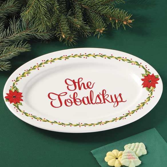 Personalized Poinsettia Serving Platter