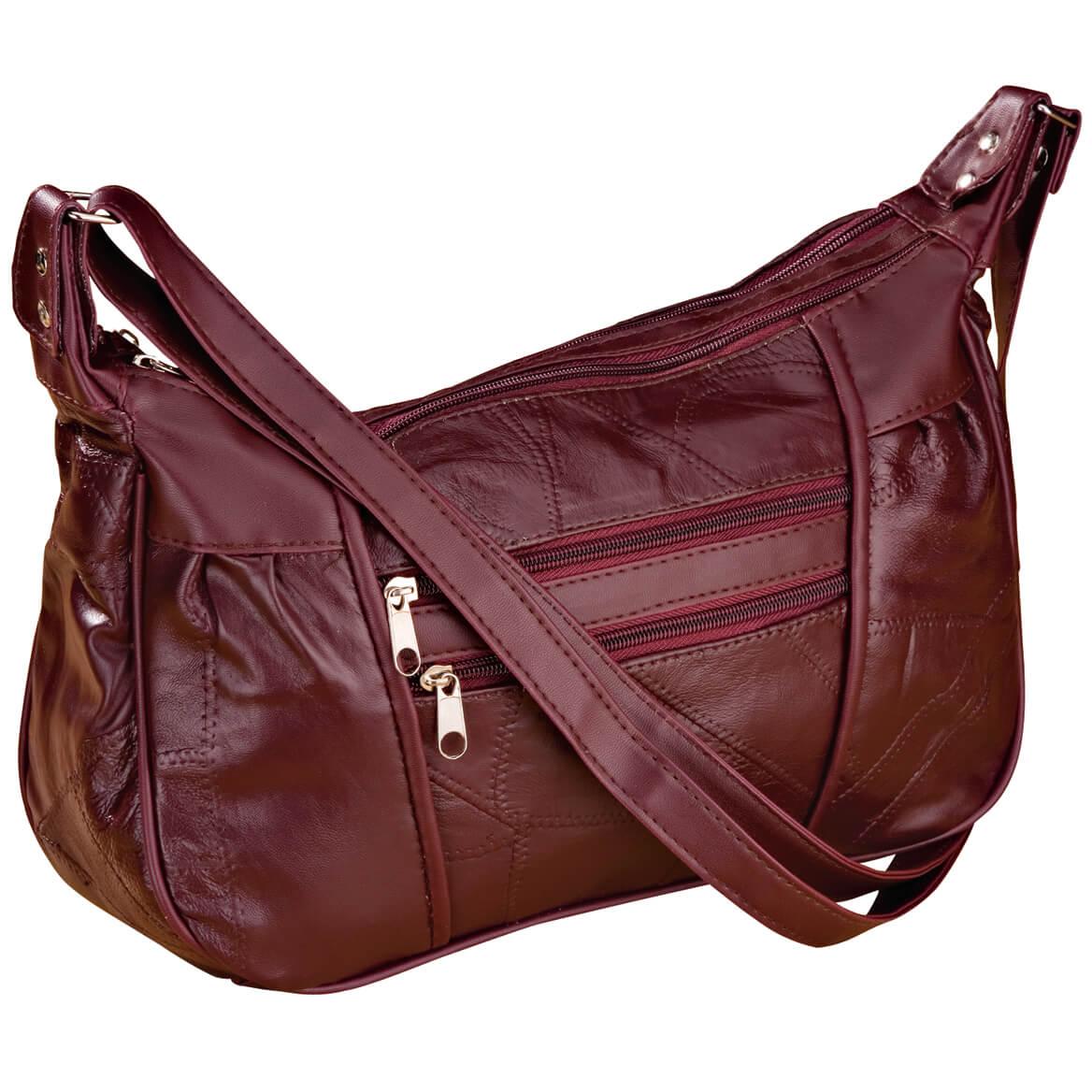 Burgundy Patch Leather Handbag-339981