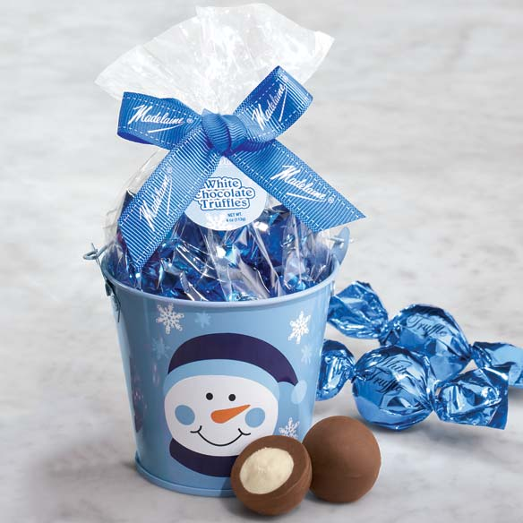 Snowman Holiday Pail with White Chocolate Truffles