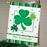 "St. Patrick's Day - Personalized Shamrock 27"" x 37"" Flag"