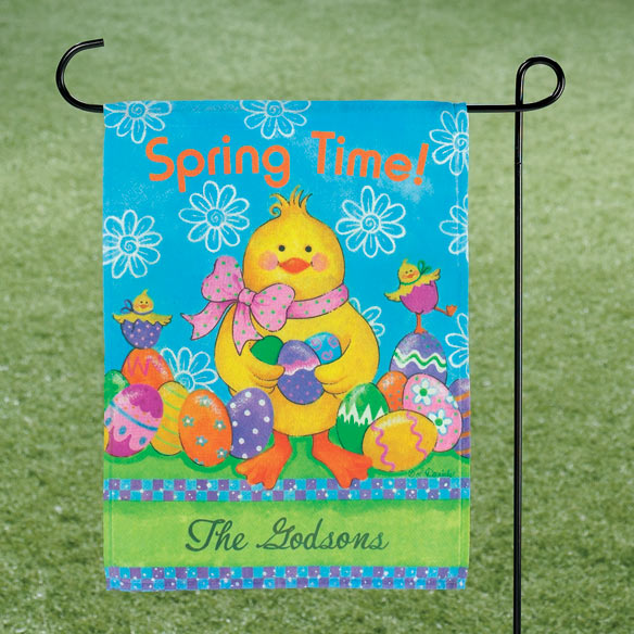 Personalized Easter Chicks Garden Flag