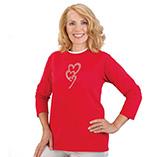 Valentines Day - Rhinestone Trio Hearts 3/4 Sleeve Shirt