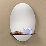 Frameless Mirror with Floating Shelf