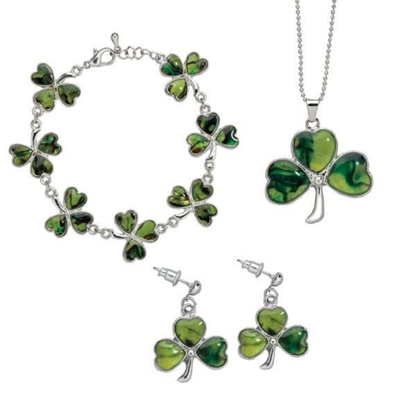 Paua Shamrock Jewelry Set of all 3