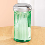 Depression Style Glassware - Green Depression Style Glass Sugar Shaker