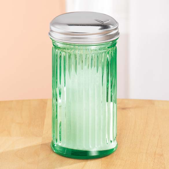 Green Depression Style Glass Sugar Shaker