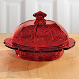 Red Glass Round Butter Dish