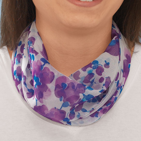 Blue Floral Neck Cowls Set of 3