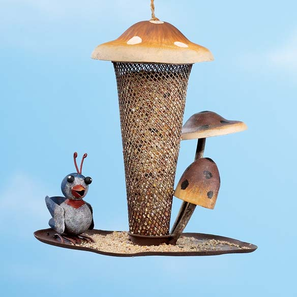 Mushroom and Bird Hanging Birdfeeder