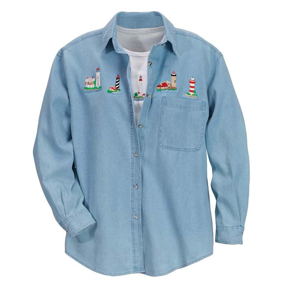 Women's Plus Size Denim Lighthouse Shirt Set
