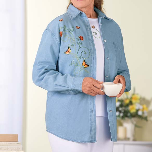 Women's Plus Size Denim Monarch Butterfly Shirt Set